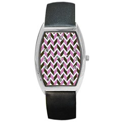 Zigzag Chevron Pattern Pink Brown Barrel Style Metal Watch by snowwhitegirl