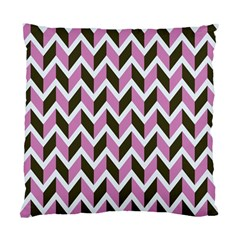 Zigzag Chevron Pattern Pink Brown Standard Cushion Case (two Sides) by snowwhitegirl