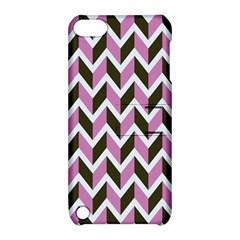 Zigzag Chevron Pattern Pink Brown Apple Ipod Touch 5 Hardshell Case With Stand by snowwhitegirl