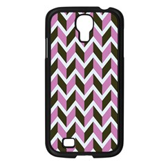 Zigzag Chevron Pattern Pink Brown Samsung Galaxy S4 I9500/ I9505 Case (black) by snowwhitegirl