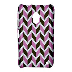 Zigzag Chevron Pattern Pink Brown Nokia Lumia 620 by snowwhitegirl