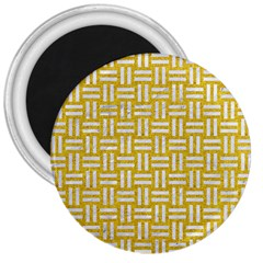 Woven1 White Marble & Yellow Denim 3  Magnets by trendistuff