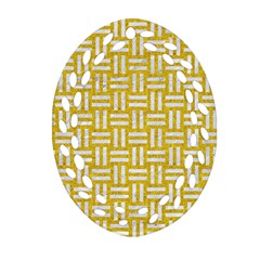 Woven1 White Marble & Yellow Denim Oval Filigree Ornament (two Sides) by trendistuff