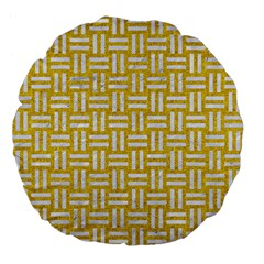Woven1 White Marble & Yellow Denim Large 18  Premium Flano Round Cushions by trendistuff