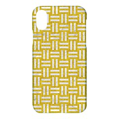 Woven1 White Marble & Yellow Denim Apple Iphone X Hardshell Case