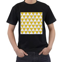 Triangle3 White Marble & Yellow Denim Men s T Shirt (black) (two Sided)