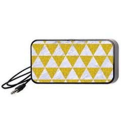 Triangle3 White Marble & Yellow Denim Portable Speaker by trendistuff