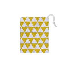 Triangle3 White Marble & Yellow Denim Drawstring Pouches (xs)  by trendistuff