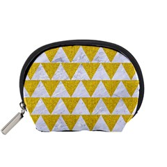 Triangle2 White Marble & Yellow Denim Accessory Pouches (small)