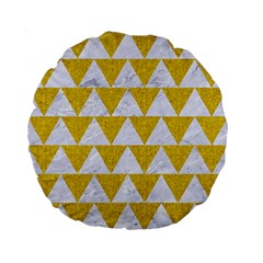 Triangle2 White Marble & Yellow Denim Standard 15  Premium Flano Round Cushions by trendistuff