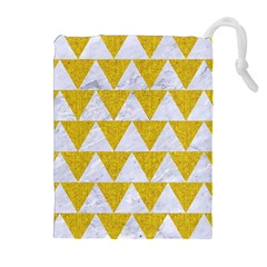 Triangle2 White Marble & Yellow Denim Drawstring Pouches (extra Large) by trendistuff