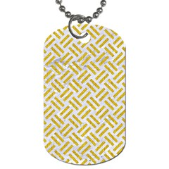 Woven2 White Marble & Yellow Denim (r) Dog Tag (two Sides) by trendistuff
