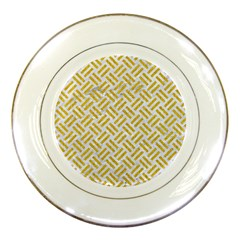 Woven2 White Marble & Yellow Denim (r) Porcelain Plates by trendistuff
