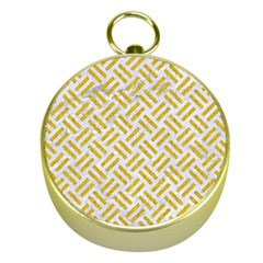 Woven2 White Marble & Yellow Denim (r) Gold Compasses by trendistuff