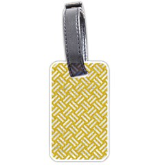Woven2 White Marble & Yellow Denim Luggage Tags (two Sides) by trendistuff