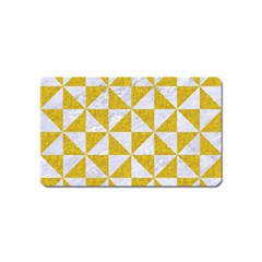 Triangle1 White Marble & Yellow Denim Magnet (name Card) by trendistuff