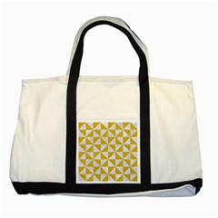 Triangle1 White Marble & Yellow Denim Two Tone Tote Bag by trendistuff