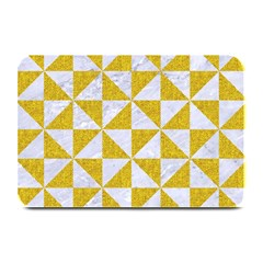 Triangle1 White Marble & Yellow Denim Plate Mats by trendistuff