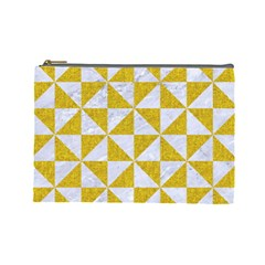 Triangle1 White Marble & Yellow Denim Cosmetic Bag (large)  by trendistuff