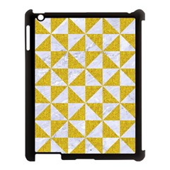 Triangle1 White Marble & Yellow Denim Apple Ipad 3/4 Case (black) by trendistuff