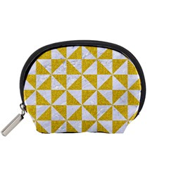 Triangle1 White Marble & Yellow Denim Accessory Pouches (small)