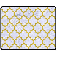 Tile1 White Marble & Yellow Denim (r) Double Sided Fleece Blanket (medium)  by trendistuff