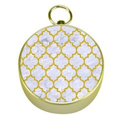 Tile1 White Marble & Yellow Denim (r) Gold Compasses by trendistuff