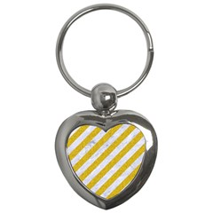 Stripes3 White Marble & Yellow Denim (r) Key Chains (heart)  by trendistuff