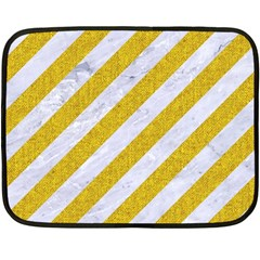 Stripes3 White Marble & Yellow Denim (r) Fleece Blanket (mini) by trendistuff