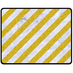 Stripes3 White Marble & Yellow Denim (r) Double Sided Fleece Blanket (medium)  by trendistuff