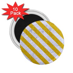 Stripes3 White Marble & Yellow Denim 2 25  Magnets (10 Pack)  by trendistuff