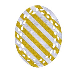 Stripes3 White Marble & Yellow Denim Oval Filigree Ornament (two Sides) by trendistuff