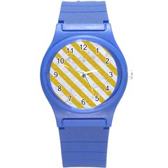 Stripes3 White Marble & Yellow Denim Round Plastic Sport Watch (s) by trendistuff