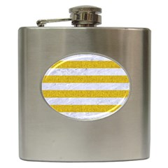 Stripes2white Marble & Yellow Denim Hip Flask (6 Oz) by trendistuff