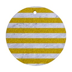 Stripes2white Marble & Yellow Denim Round Ornament (two Sides) by trendistuff
