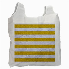 Stripes2white Marble & Yellow Denim Recycle Bag (one Side) by trendistuff