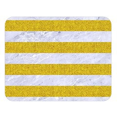 Stripes2white Marble & Yellow Denim Double Sided Flano Blanket (large)  by trendistuff