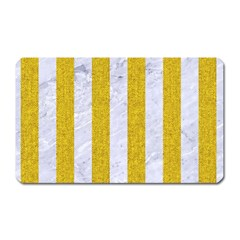 Stripes1 White Marble & Yellow Denim Magnet (rectangular) by trendistuff
