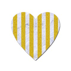 Stripes1 White Marble & Yellow Denim Heart Magnet by trendistuff