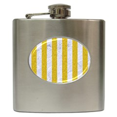 Stripes1 White Marble & Yellow Denim Hip Flask (6 Oz) by trendistuff