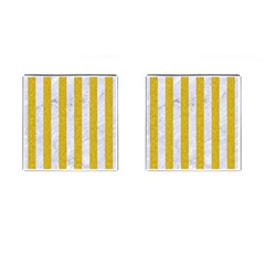 Stripes1 White Marble & Yellow Denim Cufflinks (square) by trendistuff
