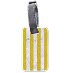 Stripes1 White Marble & Yellow Denim Luggage Tags (one Side)  by trendistuff