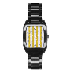 Stripes1 White Marble & Yellow Denim Stainless Steel Barrel Watch by trendistuff