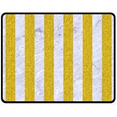 Stripes1 White Marble & Yellow Denim Double Sided Fleece Blanket (medium)  by trendistuff