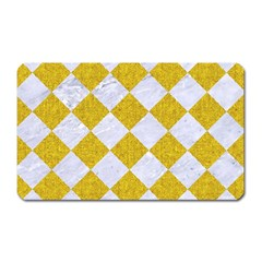 Square2 White Marble & Yellow Denim Magnet (rectangular) by trendistuff