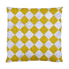Square2 White Marble & Yellow Denim Standard Cushion Case (two Sides) by trendistuff