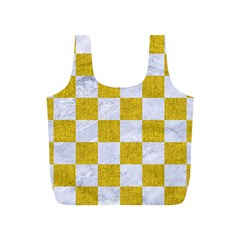 Square1 White Marble & Yellow Denim Full Print Recycle Bags (s)  by trendistuff