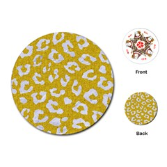 Skin5 White Marble & Yellow Denim (r) Playing Cards (round)  by trendistuff