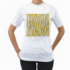 Skin4 White Marble & Yellow Denim (r)skin4 White Marble & Yellow Denim (r) Women s T Shirt (white) (two Sided)