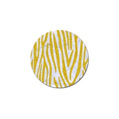 Skin4 White Marble & Yellow Denim Golf Ball Marker (10 Pack) by trendistuff